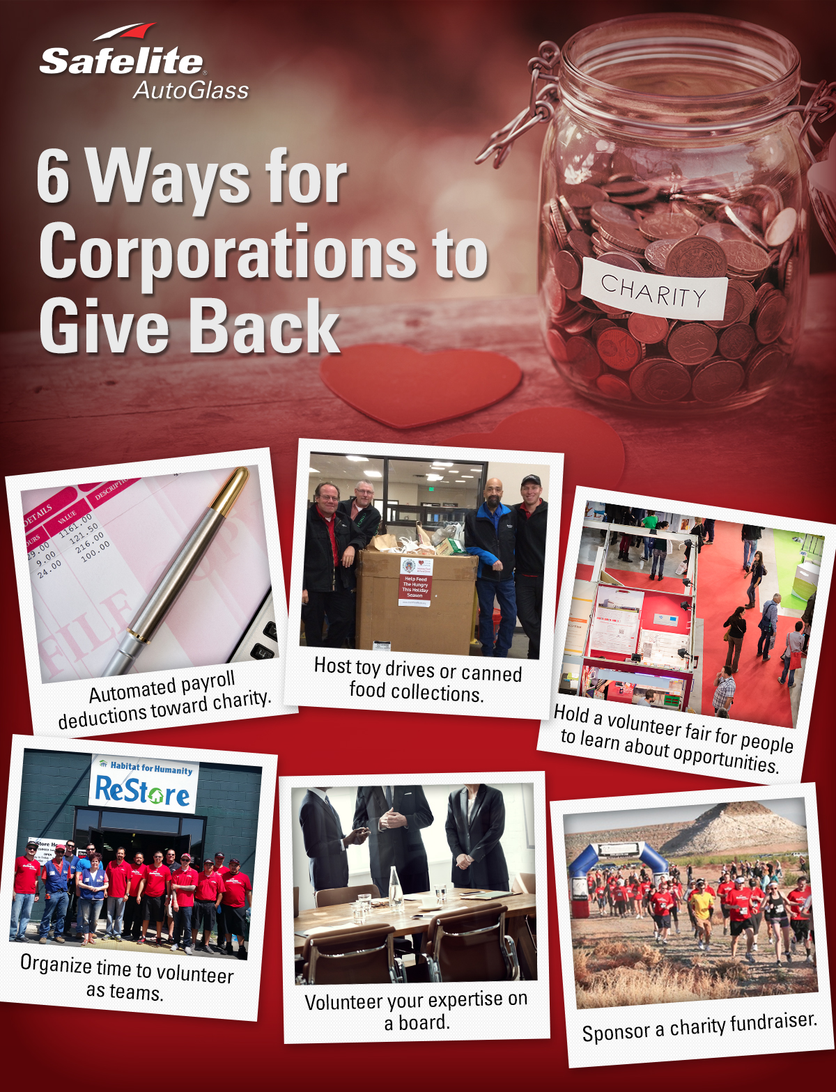 Safelite AutoGlass shares an infographic and tips about six ways corporations can give back.