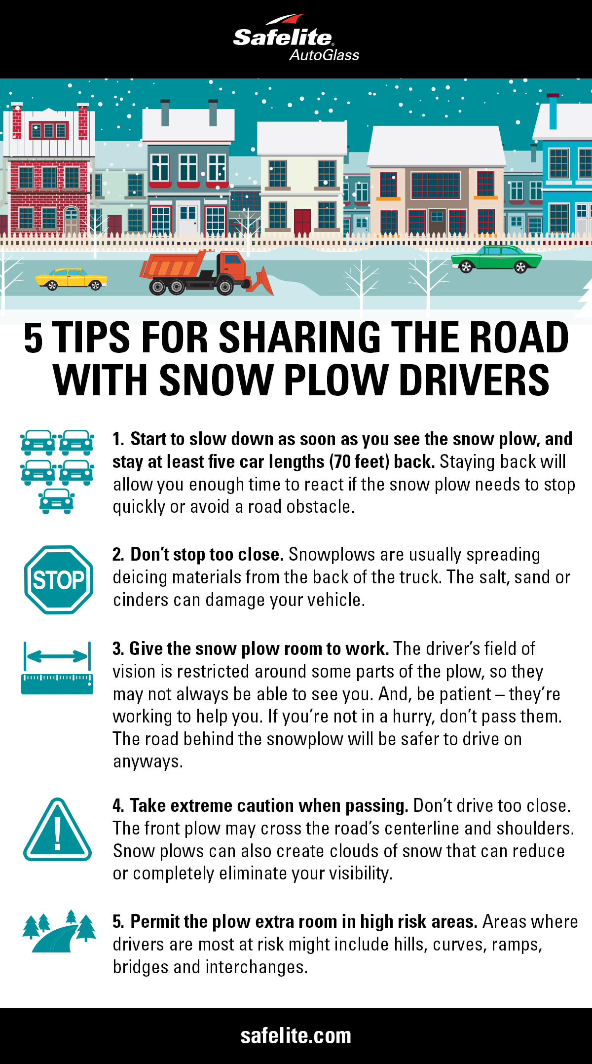 Safelite wants you to drive safely on winter roads. Here are five tips to stay safe when sharing the road with snow plows.