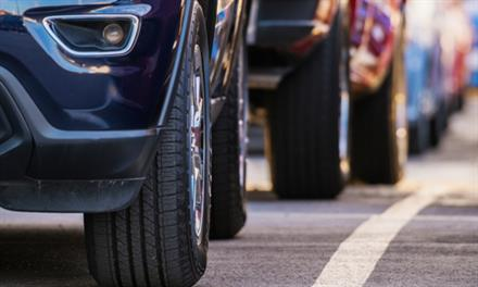 vehicle tires in traffic